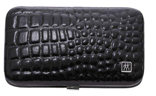 ZWILLING Classic Inox Etui Maniküre Pediküre Nagel-Set 3-tlg. Pflege Hände Füße Reise Rahmenverschluss Mann Frau Nagelknipser Pinzette Nagelfeile schwarz Kroko Optik 97506-004-0