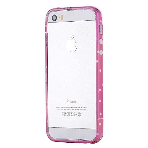RE:CRON® Bumper Handycase Rahmen für Apple IPhone 5, 5S - Kunststoff - Leopard groß Blumen rosa-lila