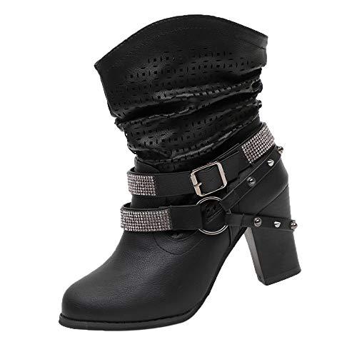 Stiefel Damen Vintage, Sonnena Herbst Winter Stiefel aushöhlen Stiefeletten Lässige High Heels Martin Stiefel Schuhe Frauen Casual Freizeitschuhe Damenschuhe