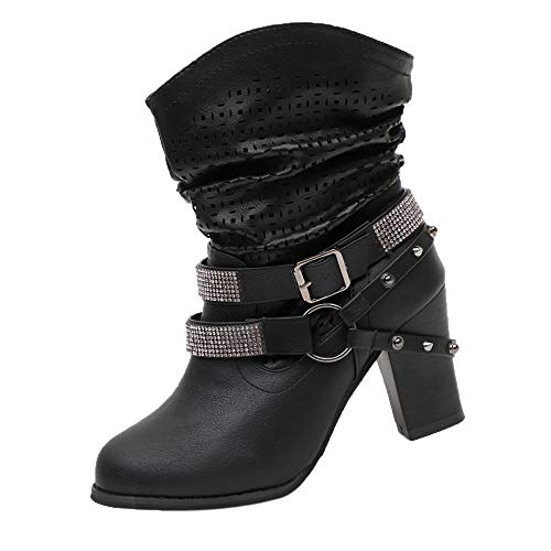 VJGOAL Damen Stiefel, 8CM Damen Mode aushöhlen Partei Knöchel Absatz halb Martin Stiefel Damen Herbst Winter High Heel Wedges Schuhe (Schwarz, 39 EU)