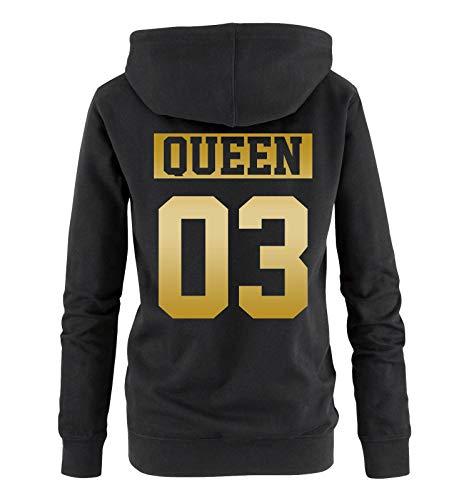 Comedy Shirts - Queen 03 - NEGATIV - Damen Hoodie - Schwarz/Gold - Gr. XXL Schwarz-gold-tv-serie