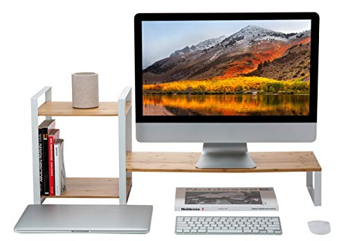 Laptop Shelf (JackCubeDesign Bamboo Monitor Stand Computer Riser with 2-tier Desktop Bookshelf Countertop Bookcase, Book Storage Organiser Display Shelf Rack for Home Office(White)- :MK363D)