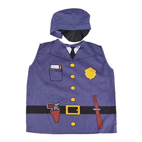 Amosfun Kinder Rollenspiel Polizei Kostüm Set Cosplay Kostüm Weste und Hut Set für Kinder Party Dress Up 2 ()