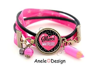 Bracelet Cadeau Maîtresse - Merci Maîtresse cœur rose pois blanc cabochon idée cadeau fin d'année
