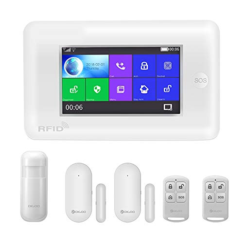 HWLQBH Touchscreen 433 MHz GSM WiFi DIY Smart Home Alarm System Kits Upgrade Kompatibel,White -