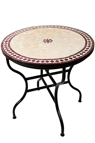 ORIGINAL Marokkanischer Mosaiktisch Gartentisch ø 80cm Groß rund klappbar | Runder klappbarer...