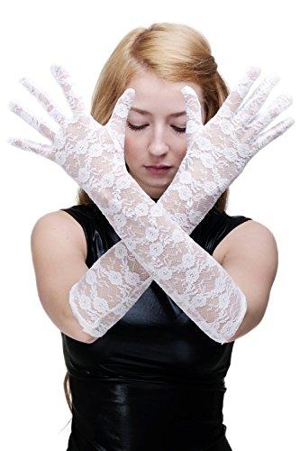 DRESS ME UP Karneval Cosplay Burlesque Handschuhe Netzhandschuhe Spitze Spitzenhandschuhe Lang Weiß Z074