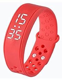 Tongshi Reloj pulsera Pulsera Pulsera Deportes Salud podómetro inteligente Wearable (Rojo)