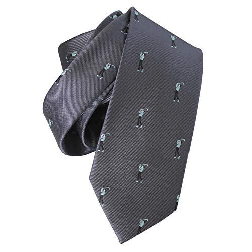 Kostüm Spieler Golf - FERETI Krawatte Grau Spieler Club Golf Sport Golfer Golfschläger Kostüm Anzieh Seide
