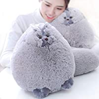 Winsterch Fluffy Stuffed Cat Toy Plush Cat Toy for Kids Soft Stuffed Animal Toy Gift (Grey,30 CM)
