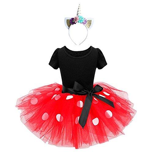 Ragazze abiti vestito costume da minnie dress principessa balletto tutu danza body ginnastica polka dots cerchietto con orecchie per carnevale festa di compleanno abito (rosso, 18-24 mesi)