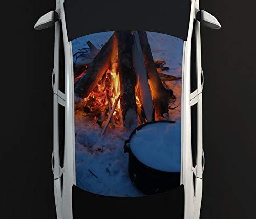 Digitaldruck Autoaufkleber Dach Lagerfeuer Schnee kalt Winter Tee Auto Tuning bunt Aufkleber Airbrush Racing Autofolie Car Wrapping CA406, D Aufkleber Größe:135cmx205cm -