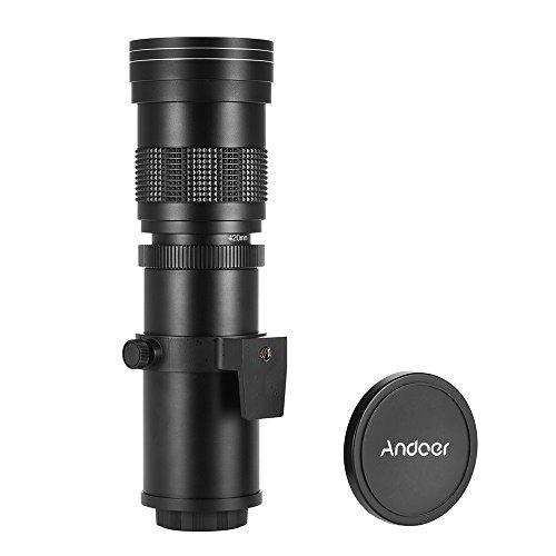 Objetivo Andoer de 420 800 mm, F/8.3 16 con zoom manual, montaje en T y anilla adaptadora para...