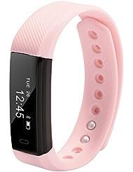 XCSOURCE® Wasserdichte Bluetooth Smart Armband Herzfrequenz Schlaf Monitor Wristband Fitness Aktivität Tracker Sport Schrittzähler Uhr Rosa AC759