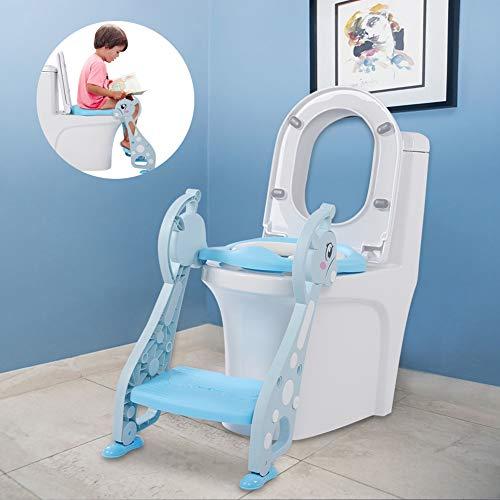 Vasino sedile per bambini, toilette trainer sedile per toilette con gradino, regolabile wc con sgabello scaletta per ragazzo e ragazza (blu)