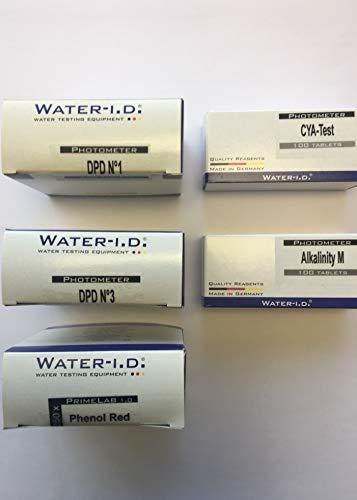 250 Tabletas test PH Phenol Red, 250 Tabletas test Cloro DPD1, 250 Tabletas test Cloro DPD3, 100 Tabletas test Alcalinidad, 100 Tabletas test Cianuro