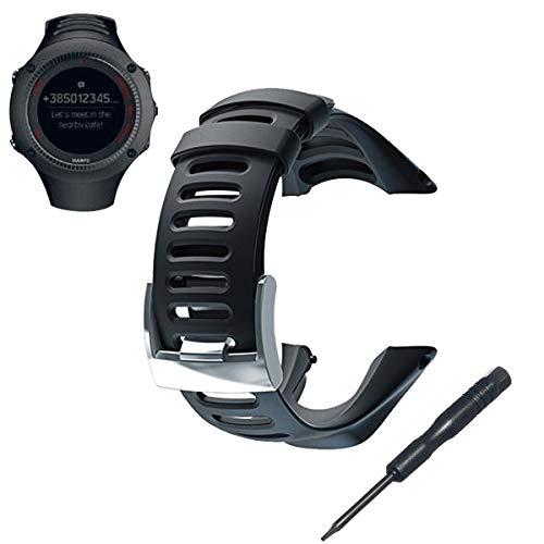 PHIFO Uhr Band Riemen weich schwarz Gummi Ersatz Uhr Band Riemen für Suunto Ambit 1/2/2S /2R/3 Sport/3 Lauf/3 Peak