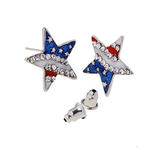 Hellery COOL American USA Stripes Flag Star Design Ohrringe PATRIOTISCHE SCHMUCK (Patriotische Ohrringe)