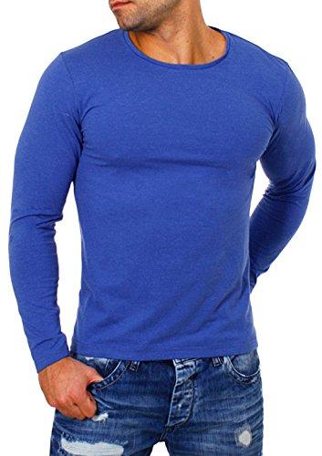 Großer Mann-shirt (Young&Rich Herren Longsleeve Rundhals Ausschnitt Langarm Shirt Einfarbig Slimfit mit Stretchanteilen Uni Basic Round-Neck Tee, Grösse:L;Farbe:Blau-Melange)