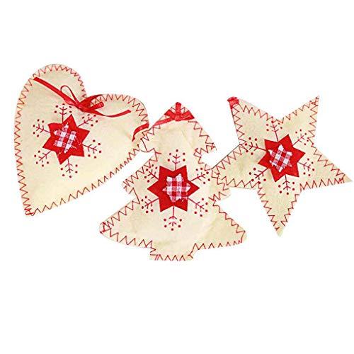 Uzinb 3pcs / set che appendono gli ornamenti in tessuto Xmas Tree Home Auto a Natale fai da te dei fiocchi di neve Cuore Ciondolo Stella non tessuta