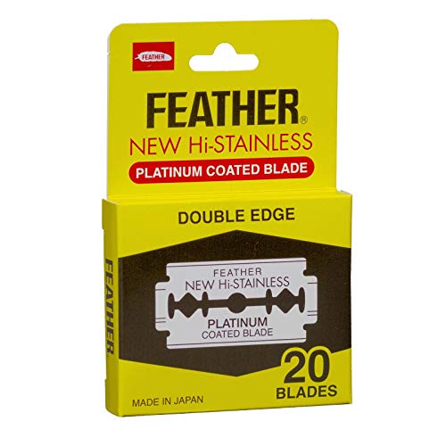 Feather Brand Original Platinum Coated Double Edge Razor Blades - 20 Blades