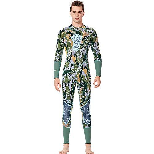 FLH Mens 3mm Neoprenanzüge Camo Neopren UV-Schutz Long Sleeves Dive Skin Anzug zum Schwimmen Tauchen Schnorcheln,L