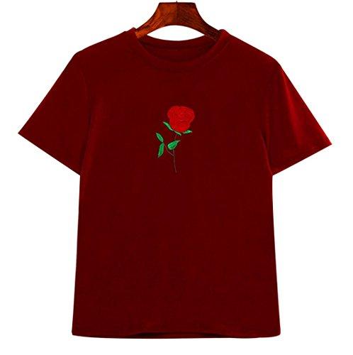 BZLine - T-Shirt été à Fleur Rose Applique en Coton - à Manches courtes - Femme Rouge