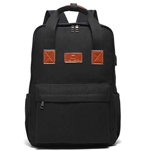 19fa4dfba0 Zaino per notebook in tela Zaino casual per esterni con porta USB carica  borsa in pelle