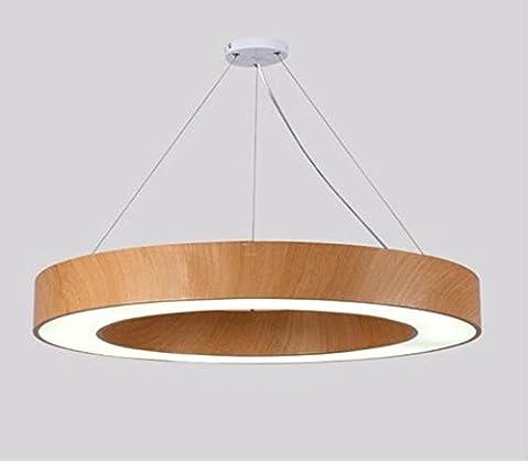 GZLOFT Lampe Suspension Plafonnier Lustres Et un cercle vide Bureau Géométrie Wood-Grain 42W Couleur diamètre 60cm