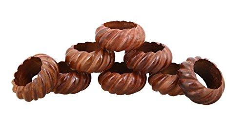 Shalinindia Wood Napkin Ring Set With 8 Napkin Rings - Artisan Crafted in India