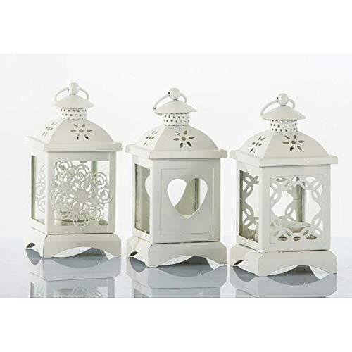6 pz lanterna bianca in latta portaconfetti bomboniera