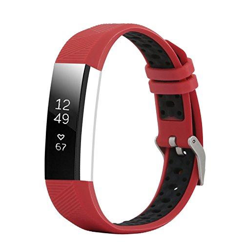 "Fit-power Fitbit Alta und Alta HR Armband, verstellbar, Ersatzsportarmband für Fitbit Alta und Alta HR Smartwatch Fitness-Armband, Rot / Schwarz, Free Size(5.5"" - 8.1"")"