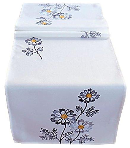 Tischdecke 40x140 cm Wollweiß Blumen Grau gestickt Tischläufer Läufer Frühling Sommer (40 x 140 cm)