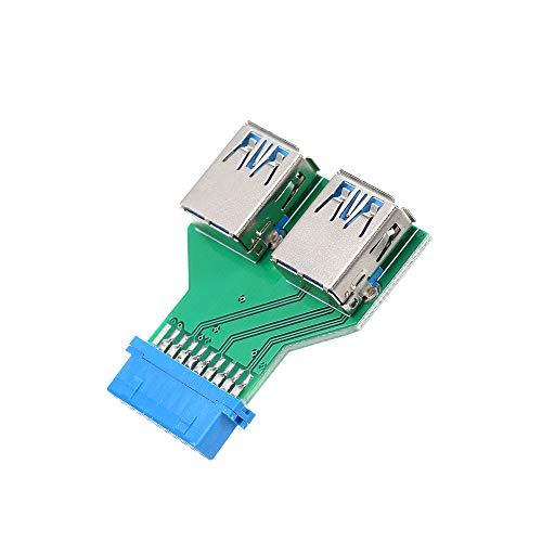 Docooler 20Pin à Double USB3.0 Adaptateur Connecteur Desktop Motherboard 19Pin / 20Pin en-tête à 2 Ports USB 3.0 Un Lecteur de Carte Femelle