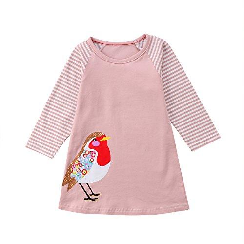(Baby Mädchen Kleid Langarm T-Shirt Baumwolle Animal Print Festival Party Schule Sweatshirt für 1-7 Jahre)