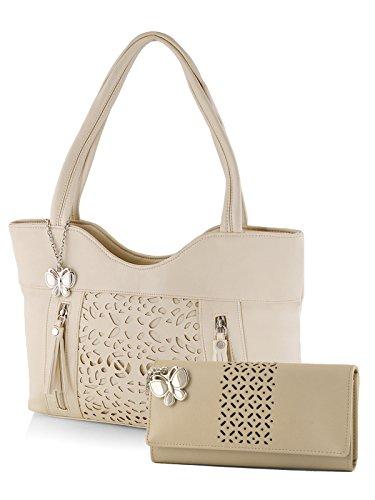 Butterflies Women's Handbag and Wallet Combos' (Cream) (BNS WB0285)