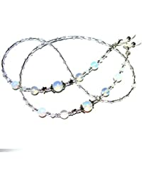 25ef4bc7313a ~OPALESQUE~ OPALITE MOONSTONE CRYSTAL BEADED GLASSES SPECTACLES CHAIN  EYEGLASS HOLDER .UK HANDCRAFTED.