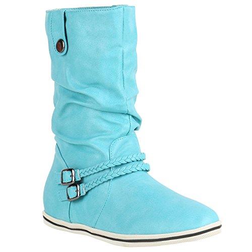 Damen Stiefeletten Bequeme Schlupfstiefel Flache Übergangs-Schuhe 150560 Rosa Camargo 38 Flandell