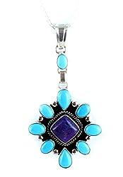 "Sleeping Beauty Turquoise Sugilite Pendant Necklace 16"""