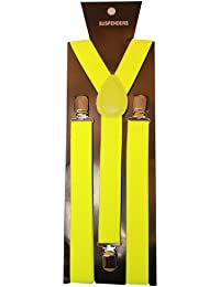 Plain Neon Coloured Trouser Braces Suspenders Retro - Adults (Neon Yellow)