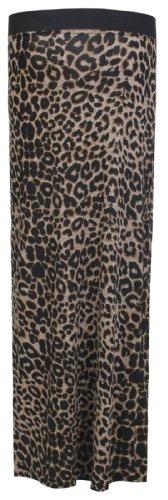 Fast Fashion Damen Azteken Tribal Tier Leopard Streifen Schädel Rose drucken Maxi Rock Leoparden braun