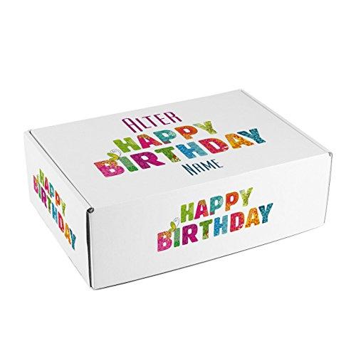 Herz & Heim® Geschenkkiste zum Geburtstag - Happy Birthday - mit Alter und Namen bedruckt