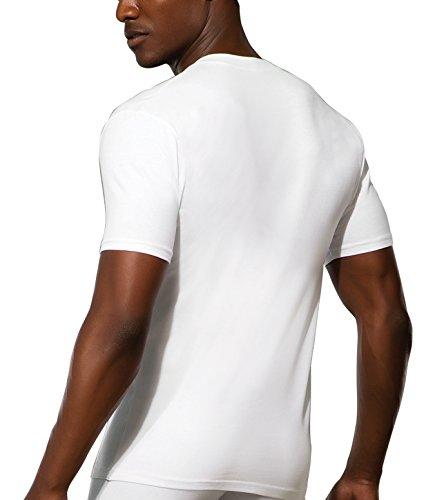 Doreanse Herren T-Shirt tiefer Ausschnitt Shirt Mens T-Shirt Deep V-Neck Muscle Shirt Weiß