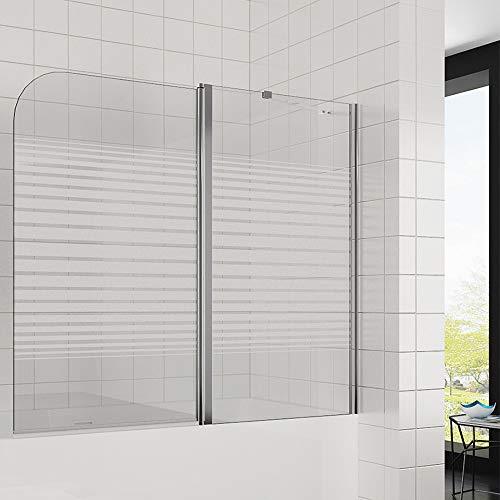 Elegant Duschwand für Badewanne mit Milchglas Streifen, 140x120cm(BxH) 2-teilig badewannenaufsatz, Duschwand mit festem Teil