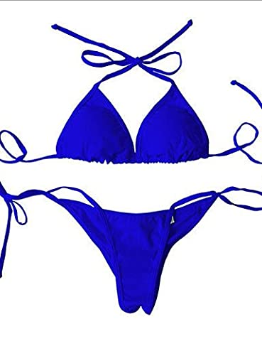 maillots de bain Maillot de bain pour femme Dos nu Bikini, Retro solide en nylon/Spandex M bleu marine