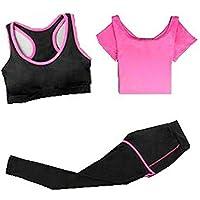 Blancho Bedding Traje Yoga, Mujeres 3 Piezas Trajes del Deporte Los Pantalones de Yoga Cómodo Gimnasio Trajes