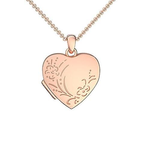 Herz Medaillon 1 Foto Rosegold hochwertig vergoldet vintage Herzkette Herz Anhänger zum Öffnen mit Kette *inkl. Gratis Etui* Herz Amulett von Amoonic FF100