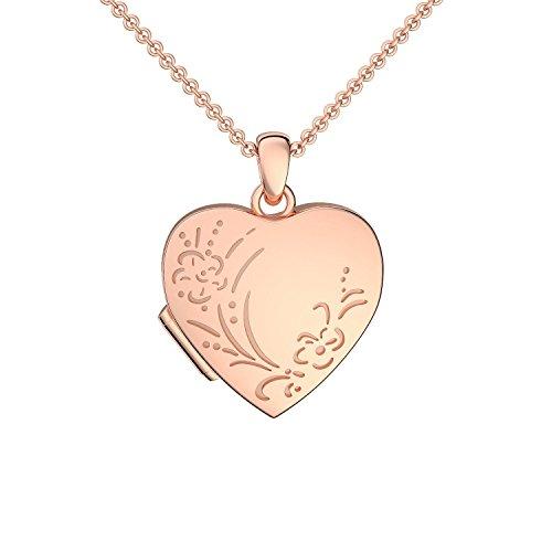 Amoonic Herz Medaillon 1 Foto Rosegold hochwertig vergoldet Vintage Herzkette Herz Anhänger zum Öffnen mit Kette *inkl. Gratis Etui* Herz Amulett FF100 VGRS45