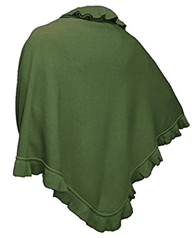 Cape Trachtentuch Poncho Umhang Stola Schultertuch Tuch Strickponcho Tracht, Farbe:olivgrün
