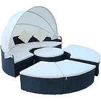 Hengda® Tumbona Sillones Baldaquino Mueble de jardín tomar el sol Conjunto Terraza Patio 230CM